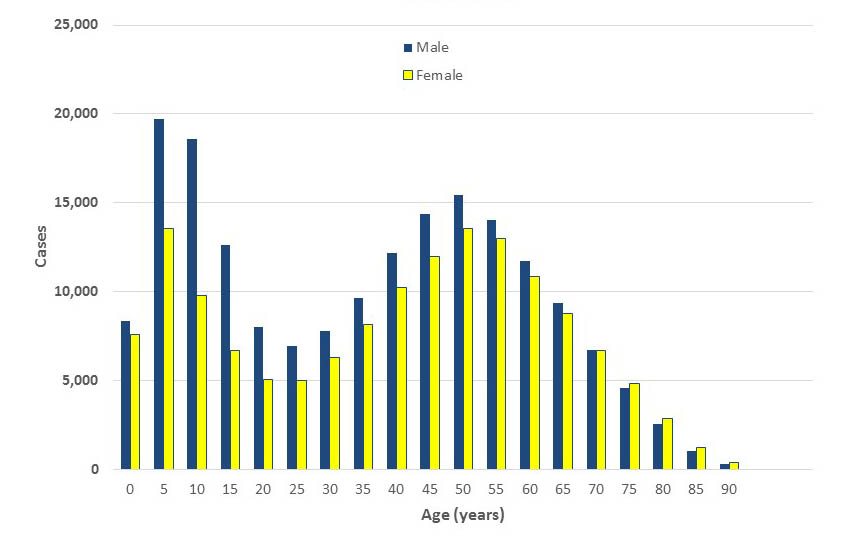 Lyme disease cases by age